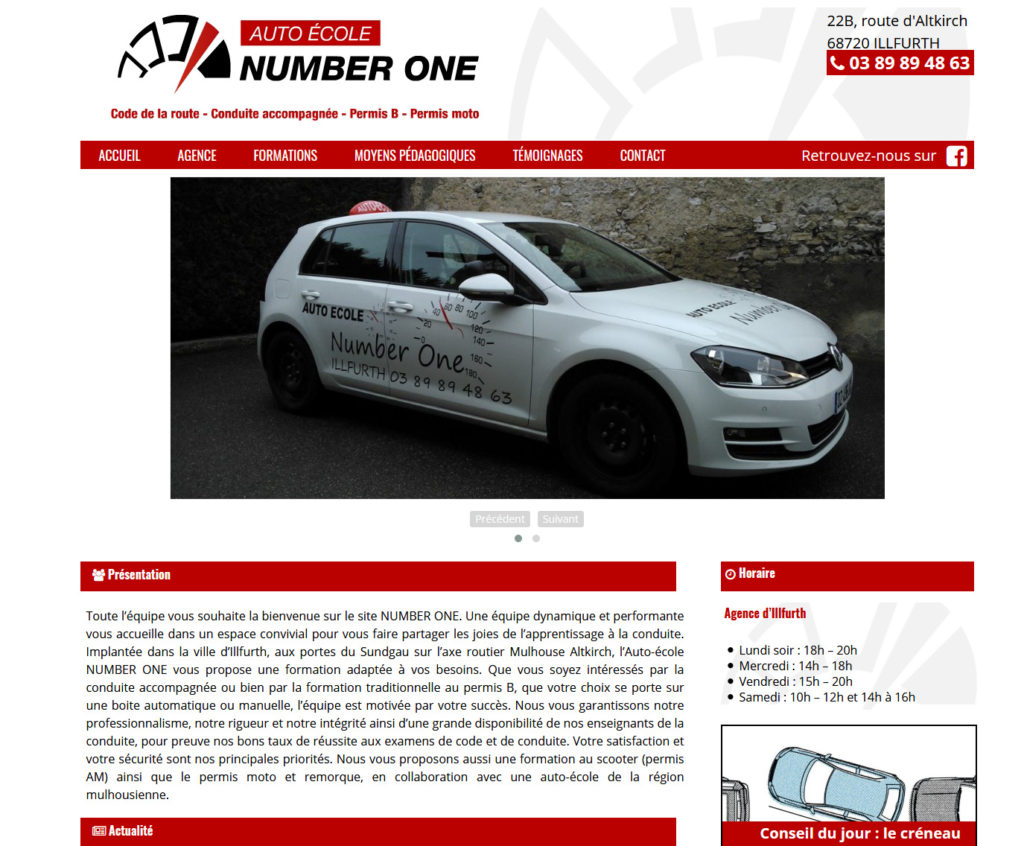 Webdesign - Sepixel - auto école Number One